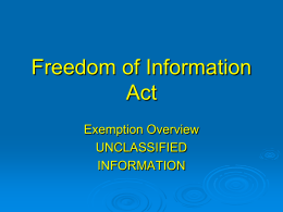 Freedom of Information Act - National Security Counselors