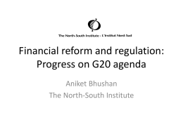 Financial reform and regulation: G20