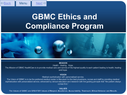 GBMC Ethics and Compliance Program