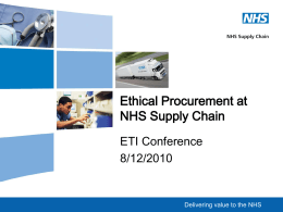 Ethical Procurement at NHS Supply Chain