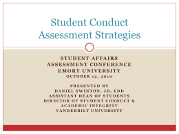 Student Conduct Assessment Strategies