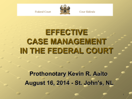 Effective Case Management in the Federal Court