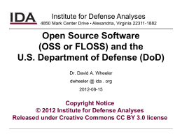 (OSS or FLOSS) and the U.S. Department of