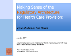 Making Sense of the Regulatory Architecture for Health