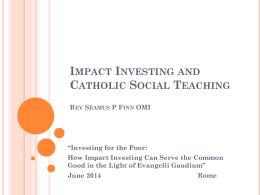 Impact Investing and Catholic Social Teaching
