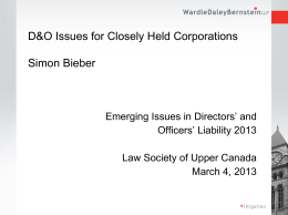 D&O Issues for Closely Held Corporations