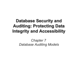 Auditing Database Activities