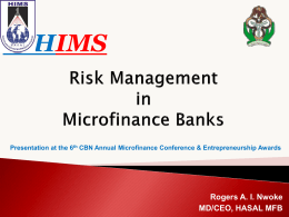 Risk Management in Microfinance Banks by CEO, HASAl