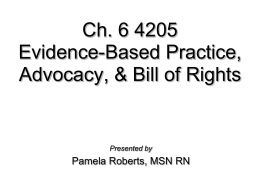 Evidence-Based Practice and Advocacy