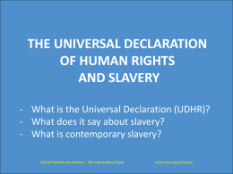 Human rights and slavery - PowerPoint - UNA-UK