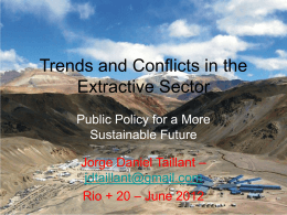 Trends and Conflicts in the Extractive Sector: Public Policy