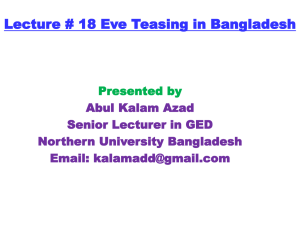 Eve Teasing in Some Selected Universities of Dhaka