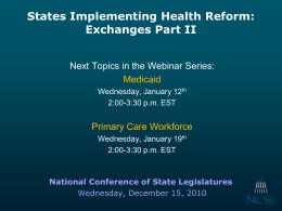 Health Insurance Exchanges, Part II