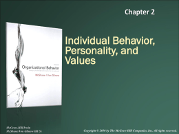 Individual Behavior, Personality, and Values
