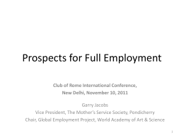 Potential for Full Employment presentation to Club of Rome Delhi