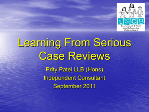 Serious Case Review - Bournemouth & Poole LSCB