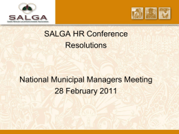 SALGA HR Conference Resolutions