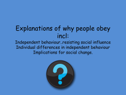 Explanations of why people obey incl
