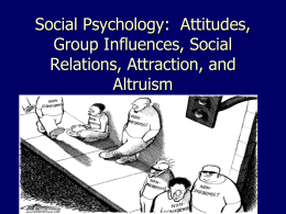 Social Psychology: Attitudes, Group Influences, Social Relations