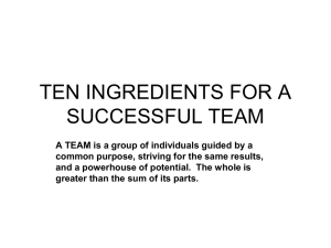 TEN INGREDIENTS FOR A SUCCESSFUL TEAM