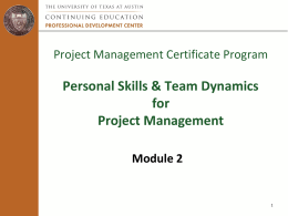 Module 2: Personal Skills and Team Dynamics in Project Management