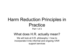 Harm Reduction Principles in Practice