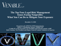 The Top Four Legal Risk Management Issues Facing