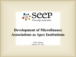 Development of Microfinance Associations as Apex Institutions by