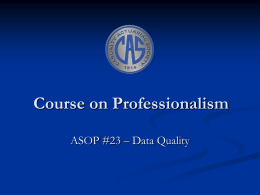Course on Professionalism - Casualty Actuarial Society
