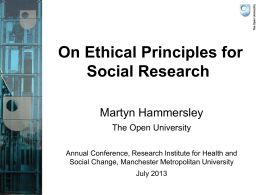 Research ethics MMU 2013