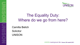 Camilla Belich, UNISON The Equality Duty