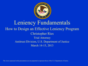 How to Design an Effective Leniency Program, Christopher Ries