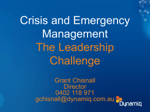 Crisis and Emergency Management – the Leadership Challenge