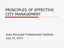 principles of effective city management