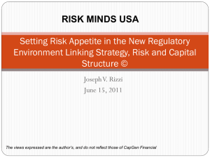 Risk Appetite: The Link Between Strategy and Capital