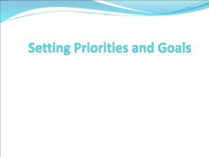 Chapter 2–Setting Priorities and Goals