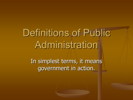 Definitions of Public Administration