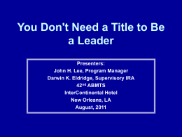 You Don`t Need a Title to Be a Leader - AIM-IRS