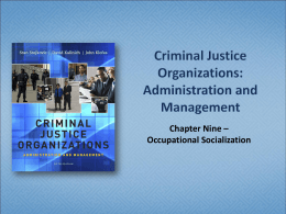 Chapter Nine – Occupational Socialization