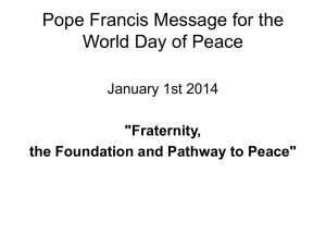 Pope Francis World Day of Peace 2014