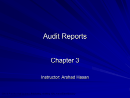 Chapter 3 – Audit Reports