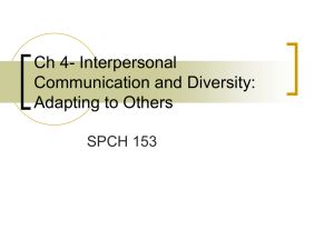 Ch 4- Interpersonal Communication and Diversity