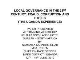 local governance in the 21st century: fraud, corruption and ethics