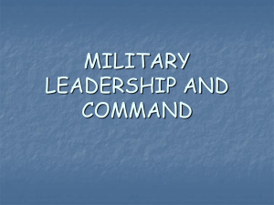 MILITARY LEADERSHIP AND COMMAND