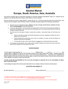 Alcohol Waiver Europe, South America, Asia