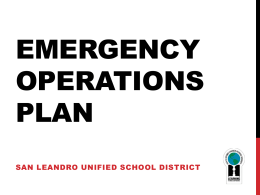 Emergency Operations Plan - San Leandro Unified School District