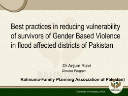 Anjum Rizvi, Family Planning Association of Pakistan