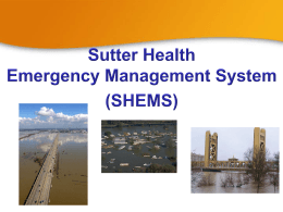 Sutter Health Emergency Management System