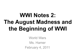 The August Madness and Mobilization for WWI