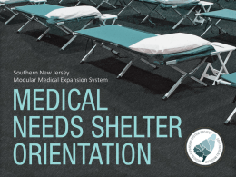 Medical Needs Shelter - New Jersey Learning Management Network